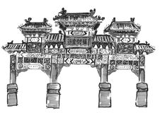 Hand draw chinese archway. On paper Stock Image