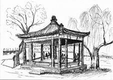 Hand draw chinese building Stock Images