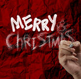 Hand draw Christmas Card  on wrinkled paper Stock Photo