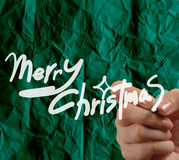 Hand draw Christmas Card  on wrinkled paper Royalty Free Stock Photography