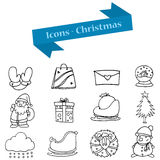 Hand draw of Christmas object icons Royalty Free Stock Images
