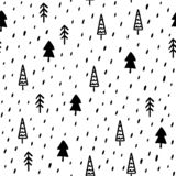 Hand Draw Christmas Tree Seamless Pattern in Doodle style. Vector Monochrome Endless Background vector illustration