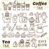 Hand draw coffee and tea collection. Sketch doodles coffee and t Royalty Free Stock Images