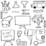 Hand draw collection school doodles. Vector illustration Stock Images