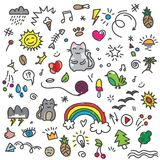 Hand draw colored cat, birds, rainbow and other art elements on doodle pattern. Hand painted colored cat, birds, rainbow, sun and other art elements on doodle Royalty Free Stock Photography