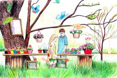 Hand draw colored illustration. Hand draw colored pencils illustration Royalty Free Stock Images