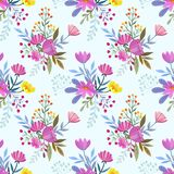 Hand draw colorful flowers seamless pattern background texture. Hand draw colorful flowers seamless pattern background texture can use for fabric textile Royalty Free Stock Image