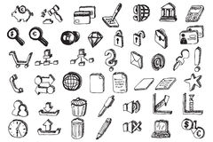Hand draw communication elements Stock Photography