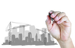 Hand draw construction site Royalty Free Stock Image
