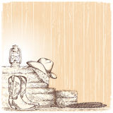 Hand draw cowboy background with western boots and west hat in r Stock Photo