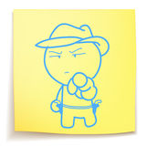 Cowboy cartoon_on sticky_notes. Hand draw cowboy cartoon_on sticky_notes Stock Images