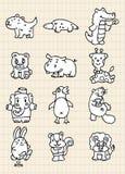 Hand draw cute animal Stock Photography