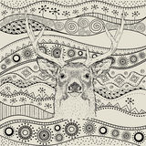 Hand draw deer portra on African hand draw ethno pattern, tribal background. Beautiful black woman. Profile view. Vector illustrat Stock Photos