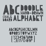 Hand draw doodle abc, alphabet grunge scratch type. Font vector illustration royalty free illustration
