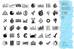 Hand draw doodle business icon set. collection of business icons, sketched elements. On white background Royalty Free Stock Photos