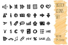 Hand draw doodle business icon set. collection of business icons, sketched elements. Isolated on white background Royalty Free Stock Image