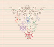 Hand draw doodle christmas ornament Royalty Free Stock Photo