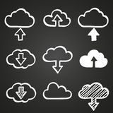 Hand draw doodle cloud shapes collection. Icons Stock Photography