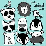Hand draw doodle collection cute wild animal heads. Isolation on mint green background Royalty Free Stock Photos