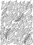 Hand draw doodle coloring page for adult. Falling autumn leaves stock photo