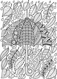 Hand draw doodle coloring page for adult.  I love Autumn Rain. Fashion Umbrella Style. Royalty Free Stock Images