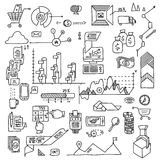 Hand draw doodle elements bank business finance analytics earnings Royalty Free Stock Images