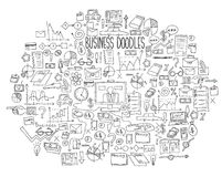 Hand draw doodle elements bank business finance analytics earnings Royalty Free Stock Photography