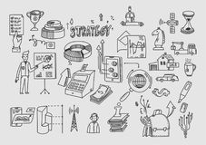 Hand draw doodle elements. Business finance analytics earnings.  Stock Photos