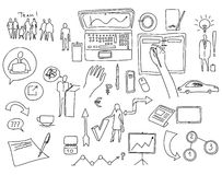 Hand draw doodle elements. Business finance chart graph.  Stock Images