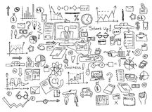 Hand draw doodle elements. Business finance chart graph.  Royalty Free Stock Images