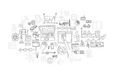 Hand draw doodle elements. Business finance chart graph.  Stock Photos