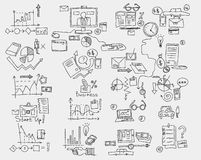Hand draw doodle elements. Business finance chart graph.  Royalty Free Stock Image