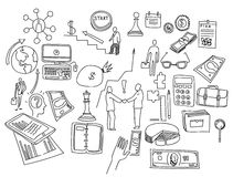 Hand draw doodle elements. Business finance chart graph.  Royalty Free Stock Photo