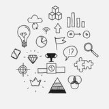 Hand draw doodle elements business scetches. Concept infographic finance analytics learnings progress leadership Royalty Free Stock Photo