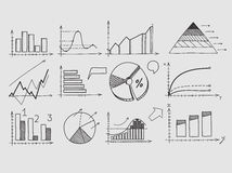 Hand draw doodle elements chart graph. Concept. Business finance analytics earnings statistics Royalty Free Stock Photos
