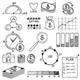 Hand draw doodle elements money and coin icon,. Chart graph. Concept bank business finance analytics earnings Royalty Free Stock Photo