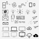 Hand draw doodle icons. Concept internet, work, Royalty Free Stock Photo