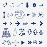 Hand draw doodle sketch arrows - pointers, cursors Royalty Free Stock Photos