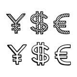 Hand draw doodle sketch money icon, dollar euro Royalty Free Stock Photo