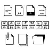 Hand draw doodle sketch set of document file. Fomats icons Royalty Free Stock Image