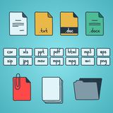 Hand draw doodle sketch set of document file. Fomats icons Royalty Free Stock Photos