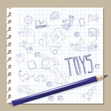 Hand draw doodle toys. On paper , vector illustration Royalty Free Stock Photography