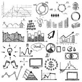 Hand draw doodle web charts business finanse. Hand draw doodle charts web charts business finanse elements on chalk board Stock Photography