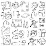 Hand draw of doodles collection school. Illustration Royalty Free Stock Photo