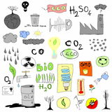 Hand draw eco icons Stock Images