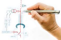 Hand draw electric scheme Stock Photos