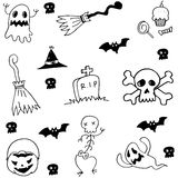 Hand draw element halloween doodle Royalty Free Stock Images