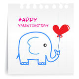 Elephant Valentine on paper Note. Hand draw Elephant cartoon Valentine_on paper Note Royalty Free Stock Image