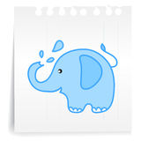 Elephants spraying water lcartoon_on paper Note Royalty Free Stock Images