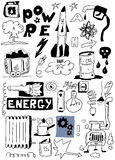 Hand draw energy doodle set Royalty Free Stock Image
